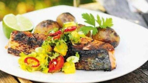 grillad lax med mangosalsa
