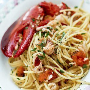 hummer pasta recept skaldjur